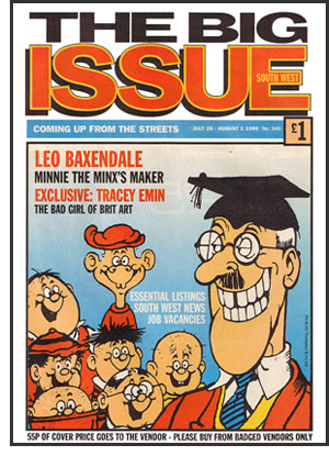 'Beano'-style cover of 'The Big Issue South West' (1999)