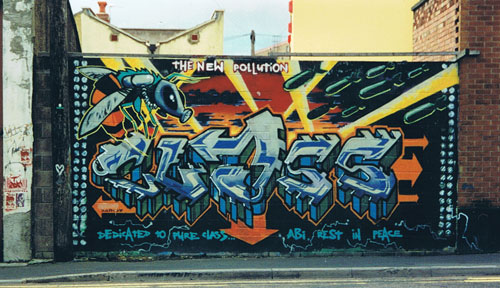 Graffiti on wall in Magdalene Place, Bristol, c.1998