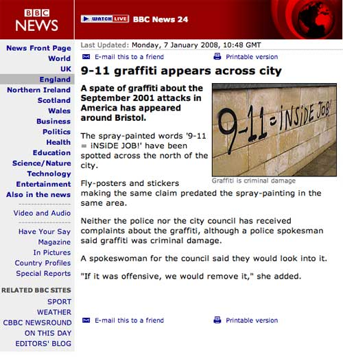 BBC News story on '9-11 = inside job' graffiti