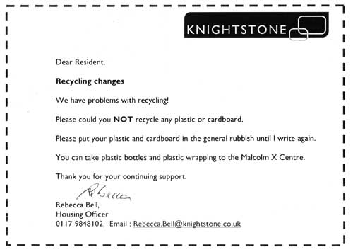 Knightstone note about no plastics/cardboard recycling on-site