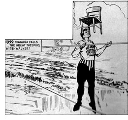 "Irving Thespius wirewalking Niagara Falls (from Eagle Picture Library #7, ""Public Enemy No.1"")"