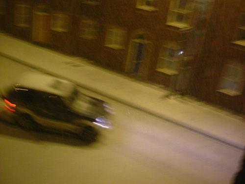 4WD skidding through ice and snow on Wilder Street