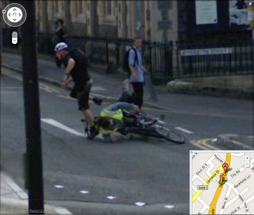 Bike crash captured by Google Street View