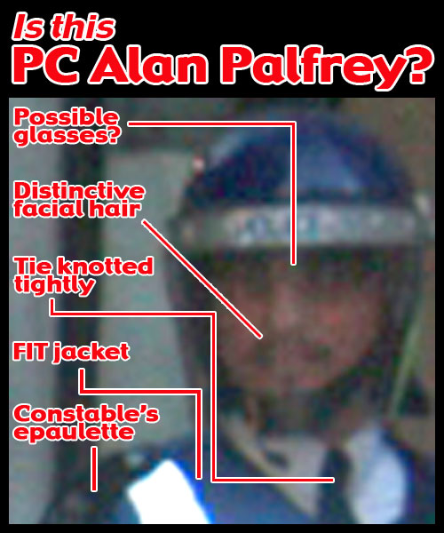 Zoom in of G20 officer F1 - PC Alan Palfrey?