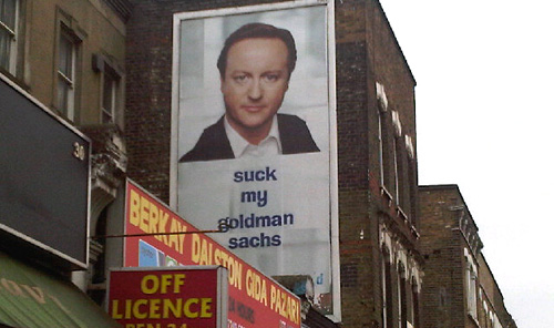 Subvertised Cameron poster, Dalston