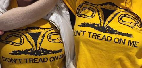 Feminist 'Gadsden snake' t-shirts